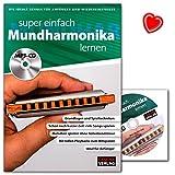 Super einfach Mundharmonika lernen - Lehrbuch mit MP3-CD und bunter herzförmiger Notenklammer - HH1034-9783866263734 mit bunter herzförmiger Notenklammer