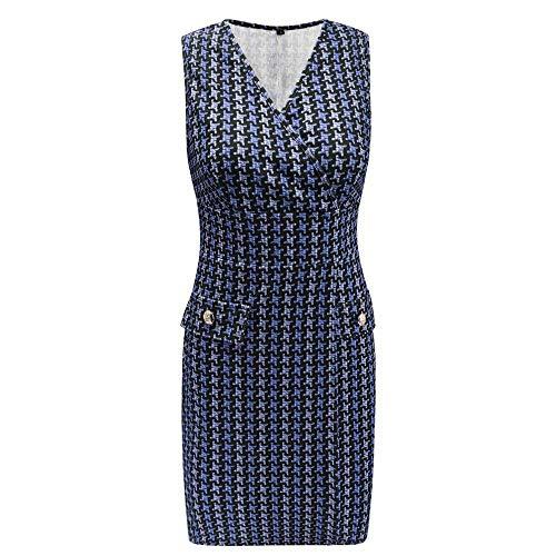 IZZB Mode Damen Sommer Partykleid Bodycon Ärmelloser Bleistift mit V-Ausschnitt, Hahnentrittmuster Freizeitkleid Abendkleid Cocktailkleid Kleider (Blau, X-Large)