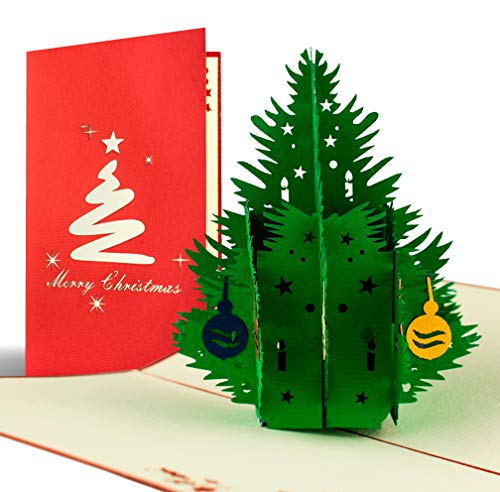 Weihnachtskarte mit Umschlag, Weihnachtsbaum, Gutschein, Klappkarte, edel, klassisch, besonders, christlich, hochwertig, Adventskarte, Geschenkidee, Frohe Weihnachten, Merry Christmas, W02 (Ecke Weihnachten Baum)