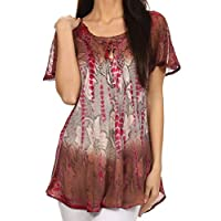 Sakkas Dina Relaxed Fit Sequin Tie Dye Embroidery Cap Sleeves Blouse/Top 1