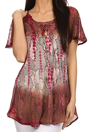Sakkas 14783 - Dina Relaxed Fit Sequin Tie Dye Stickerei Cap Ärmel Bluse/Top - Braun/Beige - OS - Tie-dye-tunika