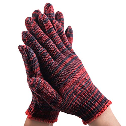 SSSTDUANJY Strickhandschuhe, Dickes verschleißfestes Schutzgarn Baumwollgarn Anti-Rutsch-Textur Chemiefasergewebe, Geeignet für Ofen, Outdoor, Küche