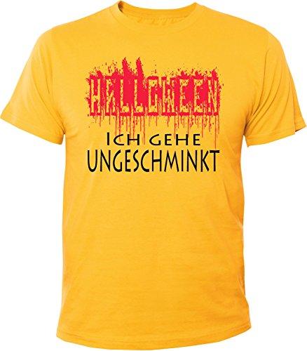 Mister Merchandise Herren Men T-Shirt Halloween - Ich Gehe ungeschminkt Verkleiden Witzig Tee Shirt Bedruckt Gelb, S