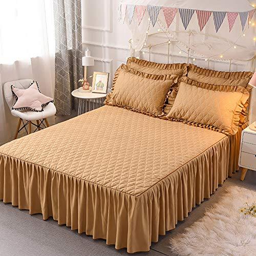 Gesteppter Bett Rock, Bett Volant Baumwolle Tagesdecke Mit rüschen Hotel qualität Faltenresistent und ausbleichen beständig-Gelb 180x220cm/71x87inch (Tagesdecke Mit Dem Bett-rock)