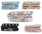 Damen Armband Wickelarmband mit Sternen & Pfeile Magnetverschluß in Silber Mod.96-p