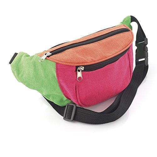 Bright Neon Multi-Coloured Fabric Bum Bag