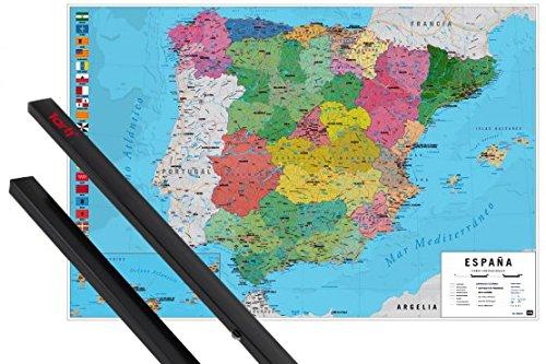 1art1 Mapas Póster 91x61 cm Mapa España Fisico Politico