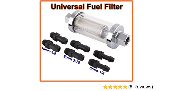 """3//8/"""" UNIVERSAL SMALL IN LINE FUEL FILTER CHROME METAL /& GLASS WASHABLE"""