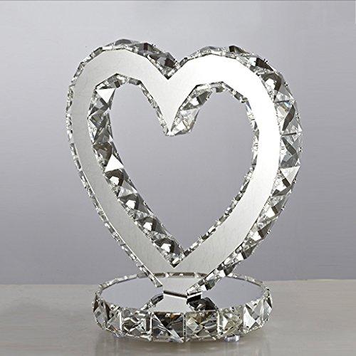 XUANLAN Lampe de cristal créative en forme de coeur, lampe de chevet à LED moderne, salon de style européen, décoration de décoration, lampes à économie d'énergie, 25 * 20cm