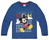 Mickey Mouse Kollektion 2017 Langarmshirt 92 98 104 110 116 122 128 Shirt Jungen Top Maus Disney (110-116, Blau)