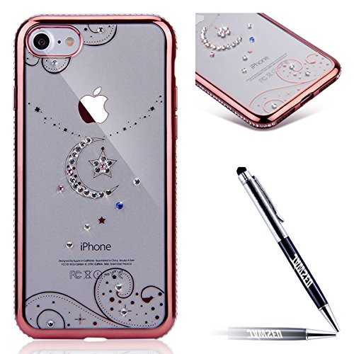 JAWSEU Coque pour iPhone 7,iPhone 7 silicone Etui Transparent,iPhone 7 TPU Case Rose Or,2017 Neuf Design Pailletee Sparkle Glitter Flash Diamant Strass Placage Soft Gel Protective Case Cover Ultra Sli star moon