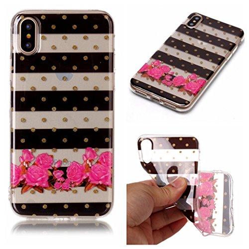 """Hülle für Apple iPhone X , IJIA Transparent Schmetterling Blumen TPU Weich Silikon Stoßkasten Cover Handyhülle Schutzhülle Handytasche Schale Case Tasche für Apple iPhone X (5.8"""") XS69"""
