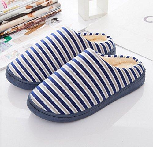 Pantoufles en coton à rayures fines en hiver ( couleur : # 1 , taille : 43-44 ) N ° 2