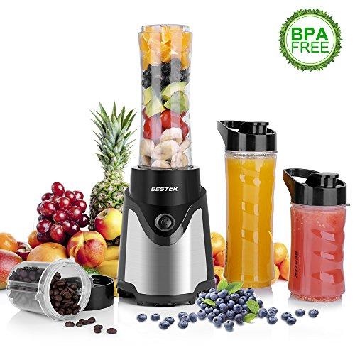 Kaffeemühle Mini (Mix & Go Smoothiemaker, BESTEK Mini Standmixer Smoothie Blender Mixer mit Kaffeemühle BPA-freie Tritan-Trinkflasche und 4-Fach Edelstahlmesser 300 Watt Schwarz)