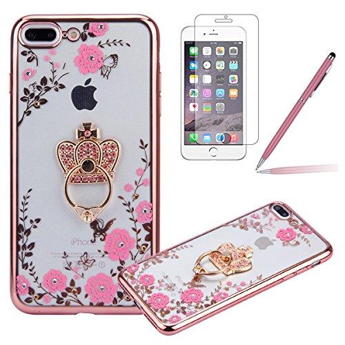 iPhone 7 Plus Custodia Rigida,iPhone 7 Plus Cover Trasparente con Disegno,Felfy iPhone 7 Plus 5.5 (Anello Fiore Crystal Rose)