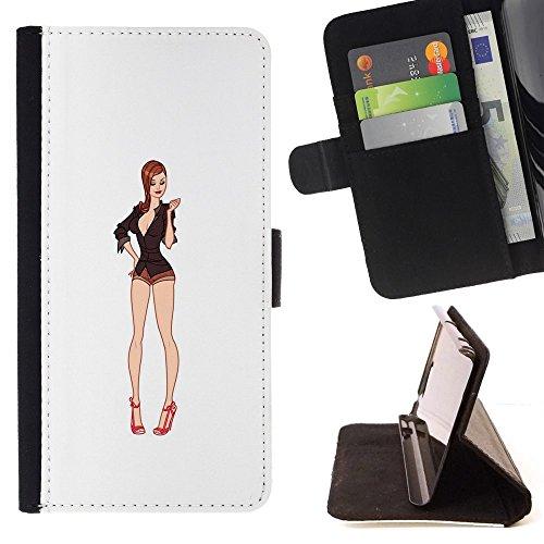 Momo Phone case/protettiva custodia flip wallet in pelle-bianco modella decolleté pin Up-LG G4