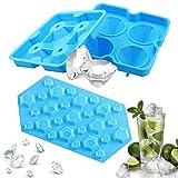 Vassoi per cubetti di ghiaccio con diamante 3D con coperchio, stampo in silicone per fabbricatori di ghiaccio, contenitori multifunzione per alimenti per whisky, cocktail Confezione da 2