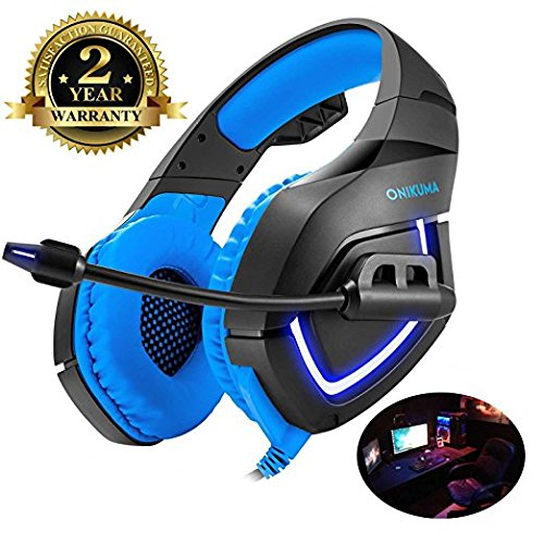 Gaming Headset für PC, Gaming Kopfhörer mit Mikrofon [ LED Atem Licht ] Surround Sound Noise Cancelling Headset mit Clarity Sound für PS4 PC Xbox One