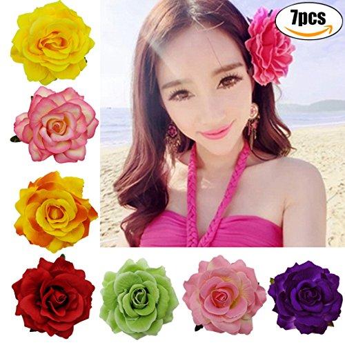 oylink 7PCS Haarspangen Modische BöHmische Rose Blume Haarnadel Brosche FüR Strand Hochzeit (Strand-hochzeits-dekor)