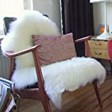 CX Original Pelz Schaffell Stil Teppich Vlies Flauschige Teppiche Sitzpolster Anti-Rutsch zum Yoga Stuhl Sofa,White,70x115cm(28x45inch)