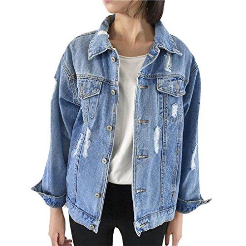 Denim Mantel Damen Btruely Herbst Winter Denim Jacke Vintage langarm lose Jeans Mantel Outwear (M, Blau) (Blau Jacke Mantel)