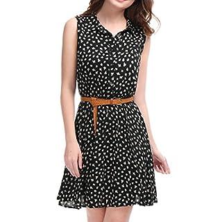 Allegra K Damen Ärmellos Button Muster Shirtkleid Kleid mit Gürtel Schwarz-Daisy S (EU 38)