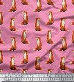 Soimoi Rosa Baumwolljersey Stoff Chevron & Fuchs Tier Dekor Stoff gedruckt 1 Meter 58 Zoll breit