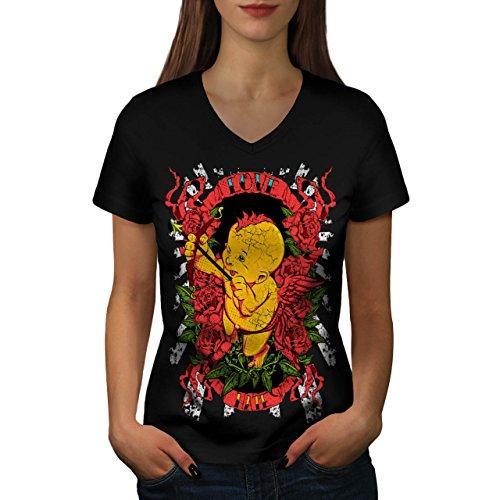 Liebe Hass Engel Valentine Verrückt Kind Damen S V-Ausschnitt T-shirt   - Kuchen Halloween-verrückte