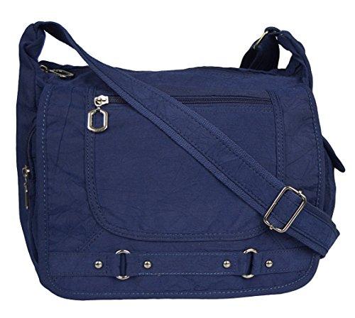 Tasche Damentasche Handtasche Stofftaschen Schultertasche 545 (Schwarz) Blau
