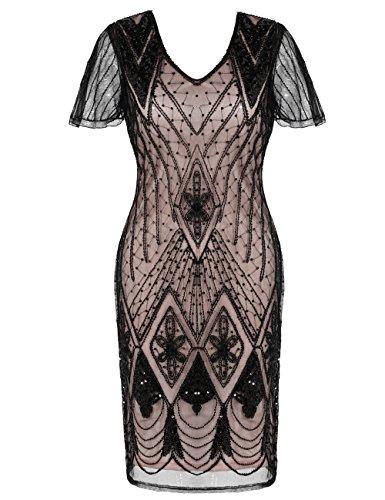 Kayamiya Roaring 20s Kleid inspiriert Pailletten Perlen Cocktail -