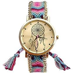 Thalia Sagun NEW Elegant Beautiful Fashionable Woven Girl Geneva Multicolour Delicate DIY craft Weave Braid Bracelet Quartz Watches 1#