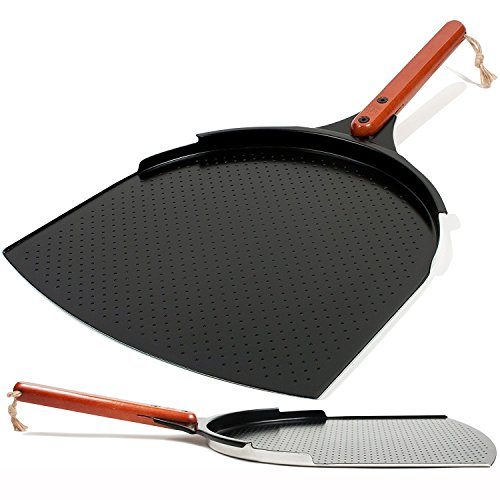 The Ultimate Pizza Peel / Paddle | 35 x 35 cm Aluminium Spatula with a Smooth Ceramic Coating | 25,4 cm Wooden Handle | Large Lightweight Metal Shovel for Safely Baking Pizza & Bread on Oven & Grill
