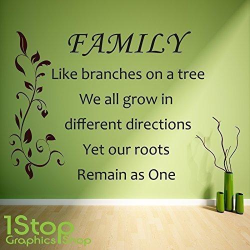 1Stop Graphics Shop - Familie wie Zweige auf Einem Baum Wandaufkleber - Schlafzimmer Lounge Wandkunst Aufkleber X397 - Braun, Large 60cm x 77cm