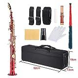 ammoon Laiton Droite Sax Saxophone Soprano Bb B Flat Instruments à Vent en Échelle Naturelle de Shell Key Carve Coffret de Transport Gants Chiffon de Nettoyage de Sangles Graisse Rod rouge