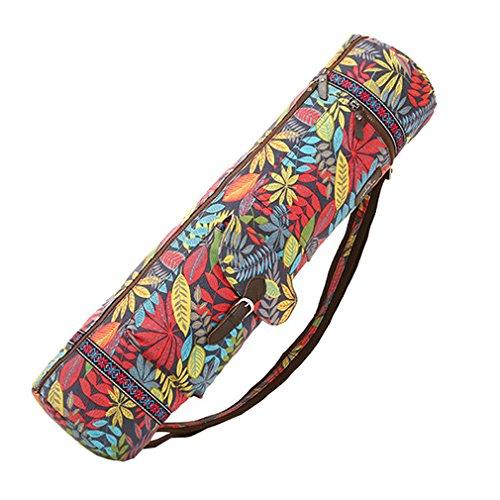 QEES Blätter Yoga Mat Bag Full Zip Yoga-Matte Tragetasche für Damen und Herren Verstellbarer Gurt Yoga Tote Aufbewahrungsfach yjdb01, Rot, 28