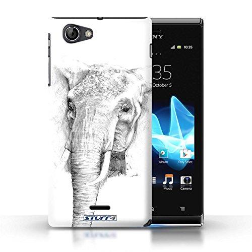 Kobalt® Imprimé Etui / Coque pour Sony Xperia J (ST26i) / Gorille / Singe conception / Série Dessin Croquis éléphant