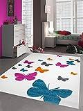Carpetia Kinderteppich Spielteppich Kinderzimmer Mädchen Teppich Schmetterling Weiss pink Größe 140x200 cm