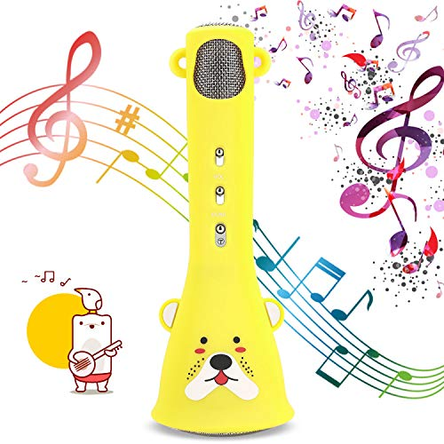 Bearbro Bluetooth Karaoke Mikrofon, Karaoke-Mikrofon für Kinder drahtlose Mikrofon Singing Machine Jungen und Mädchen Geburtstag Kids Karaoke Machines
