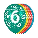 5 Globos adecuado para Helio Diseño con Número 6 Cumpleaños Fiesta...