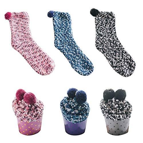 Dehots Damen Mädchen Socken Cupcakes Design Haussocken Warme Flauschig Weiche Dicke Weihnachtssocken mit Geschenkbox für Frauen Weihnachtsgeschenk, # 04 - 3 Paare, für Frauen