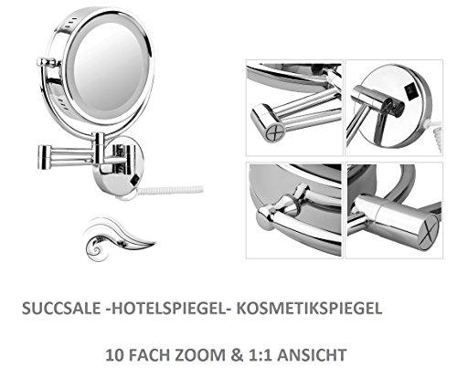 SUCCSALE Designer Kosmetikspiegel - Badspiegel- Hotelspiegel-Schminkspiegel mit LED Beleuchtung...
