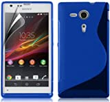 Zonewire® BLUE WAVE GEL CASE COVER + SCREEN PROTECTOR SONY XPERIA SP