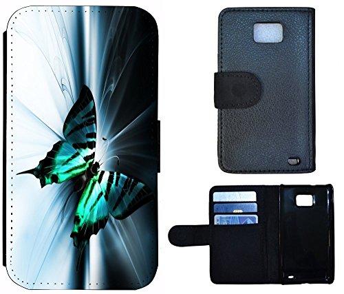 Flip Cover Schutz Hülle Handy Tasche Etui Case für (Apple iPhone 4 / 4s, 1131 Schmetterling Schwarz Türkis Weiß) 1131 Schmetterling Schwarz Türkis Weiß