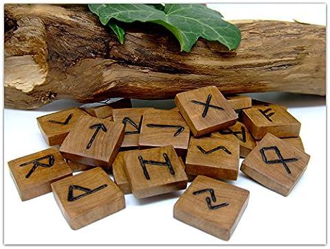 Wooden Elder Futhark Runes handcrafted from Olive wood set of 25 in Black Satin drawstring bag