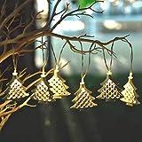 Valery Madelyn Christmas String Lights 6 LED a Batteria 1.3M Illuminazione Calda Ferro Stringa Luci in Metallo Decorazione Natalizia Natale per Albero di Natale Champagne Oro