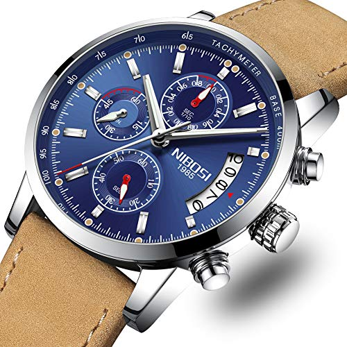 NIBOSI Herren Uhr Chronograph Quartz mit Leder Armband 2327