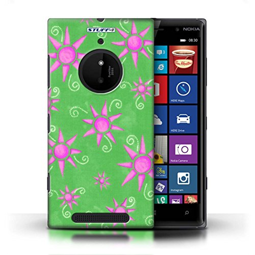 Kobalt® Imprimé Etui / Coque pour Nokia Lumia 830 / Vert/Bleu conception / Série Motif Soleil Vert/Rose