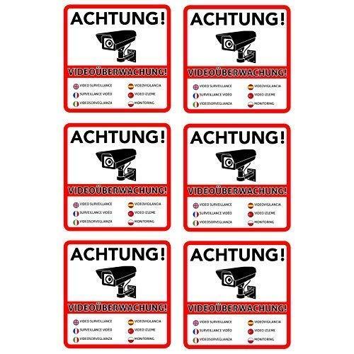 6 Achtung Videoüberwachung Premium Aufkleber – Schild – Sticker |Hinweisschild – Warnschild für mit Kamera videoüberwachtes Objekt – Haus – Gelände| Kratz- wetterfest|10 x 10 cm