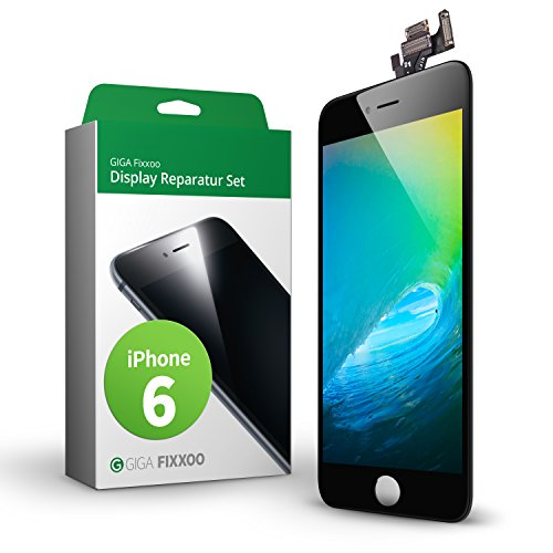 GIGA Fixxoo iPhone 6 Komplettes Display Ersatz Set Schwarz, LCD mit TouchScreen, Retina Display, Kamera & Näherungssensor - Einfache Installation für Do-It-Yourself