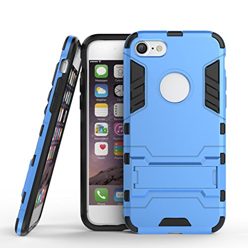 iphone 7 Custodia, Ultra Sottile 2-in-1 Cases Protettivo Estrema Assorbimento-Urti Kickstand Armatura Cover Per iphone 7. (Rosso) Blu
